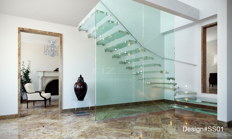 modern glass stairs  glass balustrade  modern stairs