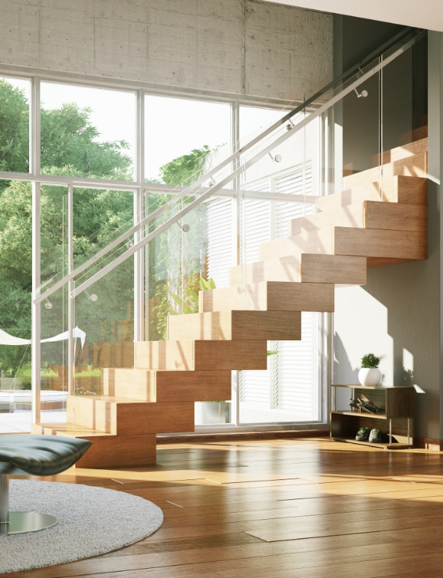 Wood StairsMaintain the warmth of wood in your home without compromising stair design.